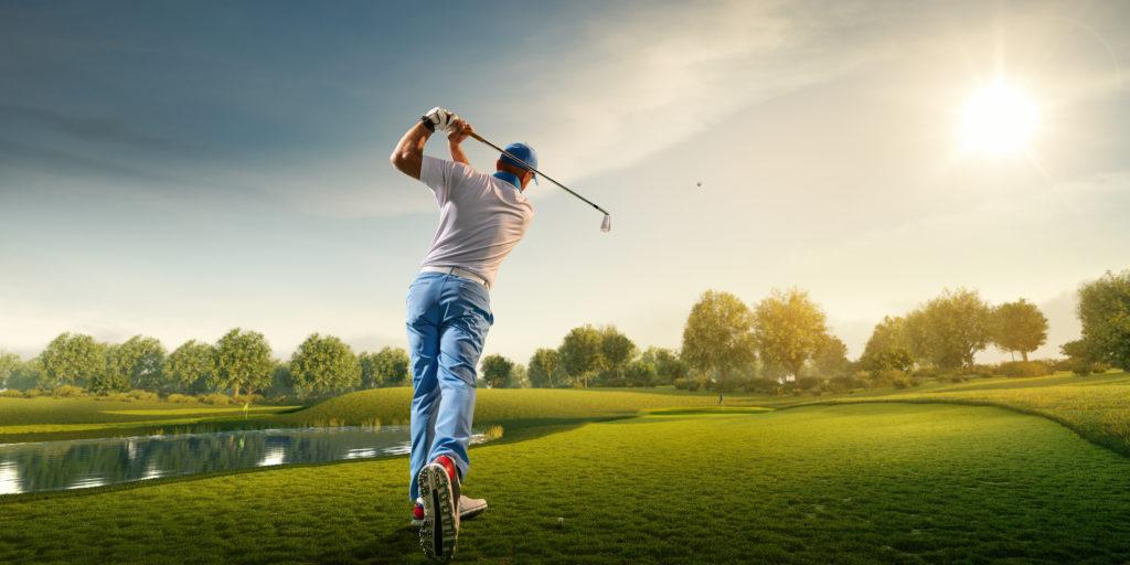 Golfer at tee box