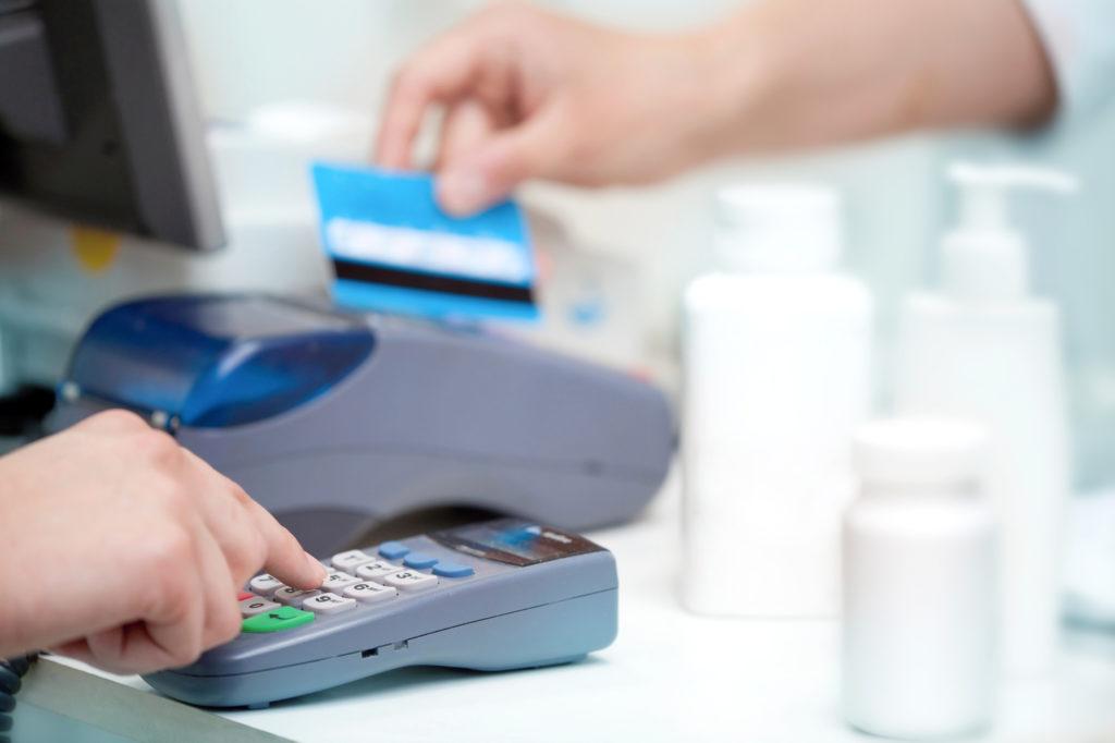 swiping a credit card