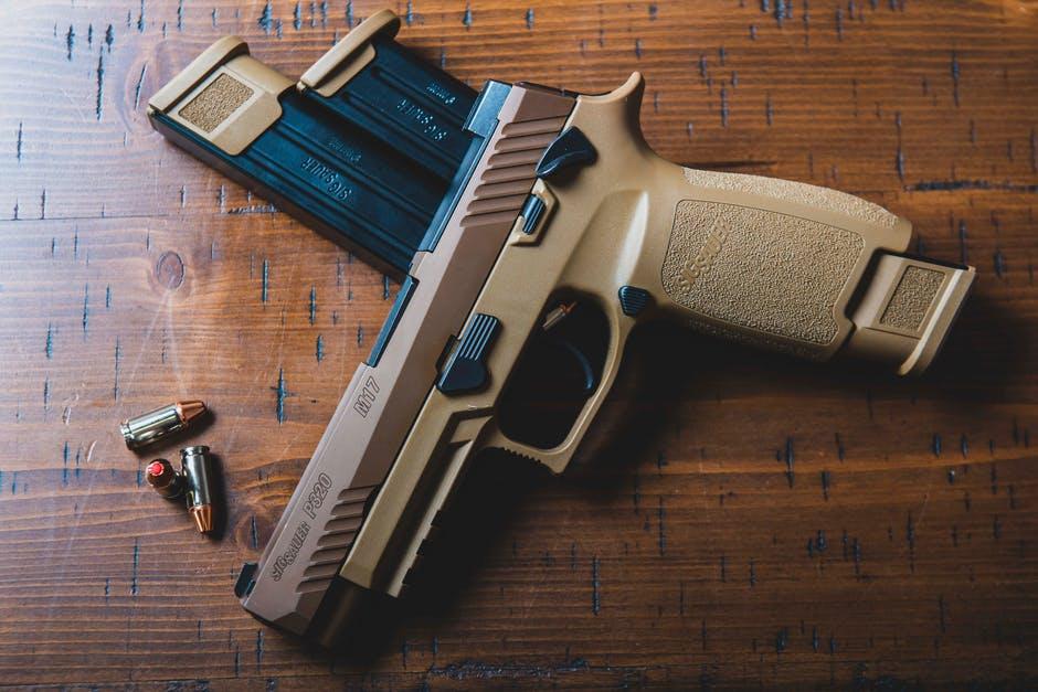 firearm on table